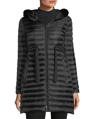 8dd3f97a8b76 Moncler Barbel Quilted Puffer Coat with Fur Trim