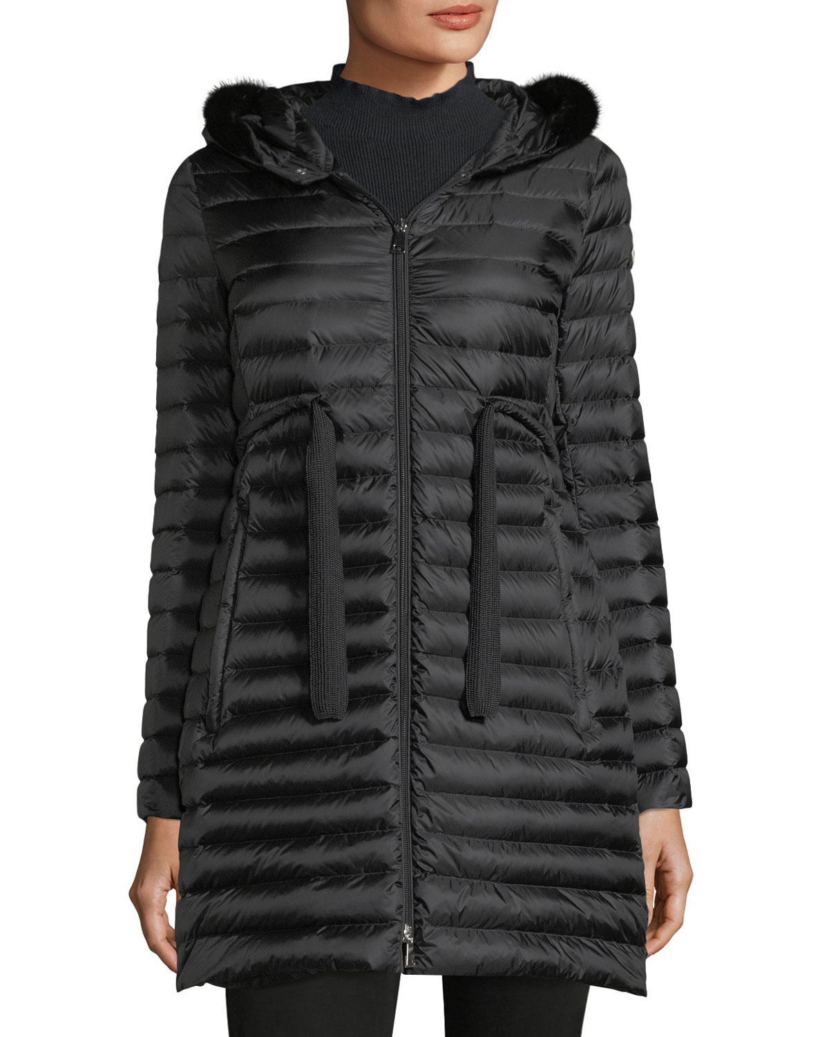 Barbel Quilted Puffer Coat with Fur Trim