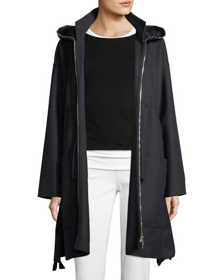 Oversized Self-Tie Coat w/ Hood