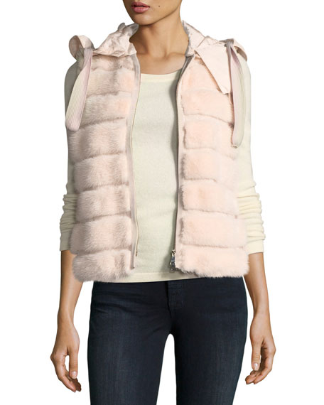 Amertine Hooded Coat and Gilet with Fur Trim