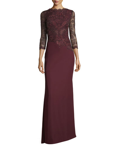 Illus Long-Sleeve Illusion Evening Gown