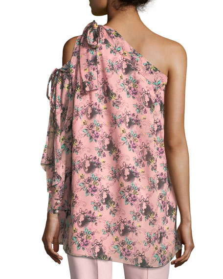 Floral Cameo-Print One-Shoulder Silk Tunic