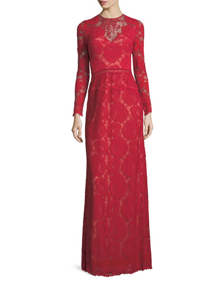 Tadashi Shoji Long-Sleeve Lace Illusion Appliqué Evening Gown
