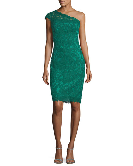 Asymmetric Lace Overlay Cocktail Dress