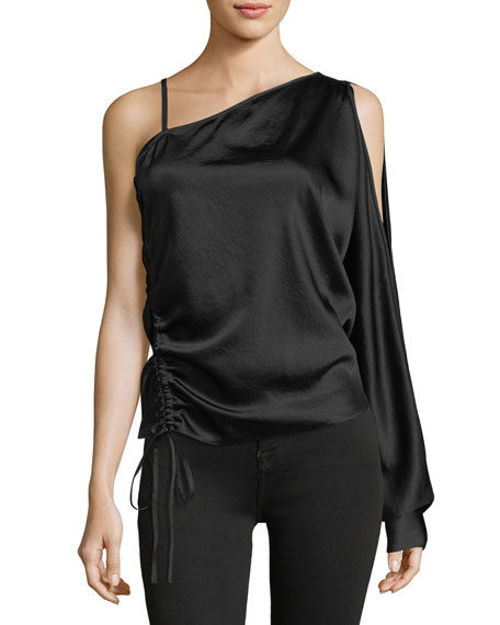 Asymmetric Drape One-Sleeve Satin Top with Ruching