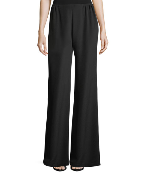 Caroline Rose Silk Crepe Wide-Leg Pants, Petite