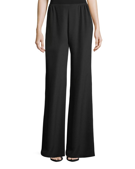 Caroline Rose Silk Crepe Wide-Leg Pants, Plus Size