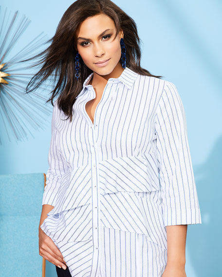 Jenna 3/4-Sleeve Ruffled Shirt, Plus Size
