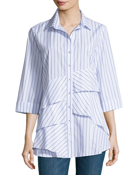 Jenna 3/4-Sleeve Ruffled Shirt, Plus Size