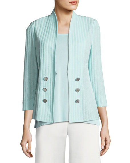 Ribbed 3/4-Sleeve Jacket