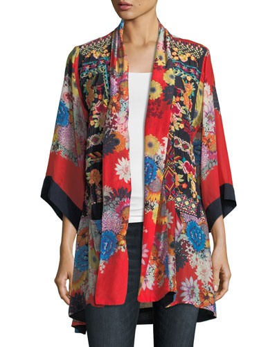 Mishka Rose Embroidered Silk Kimono, Plus Size