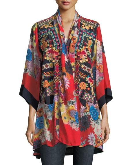 Mishka Rose Embroidered Silk Kimono, Petite