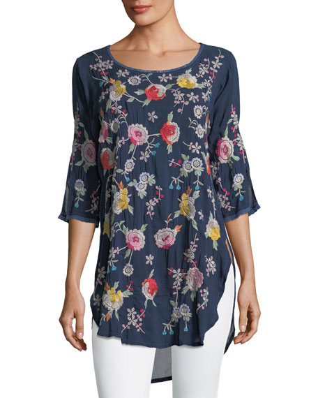 Johnny Was Playa Embroidered Georgette Tunic, Plus Size