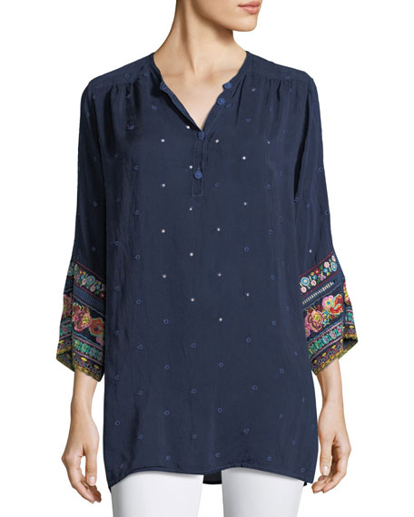 Johnny Was Patchwork-Sleeve Georgette Tunic