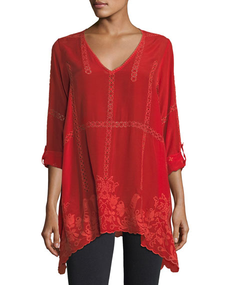 Johnny Was Cage Flare Long-Sleeve Tunic, Petite