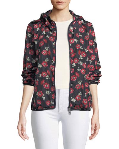 Larimar Floral Zip-Front Jacket