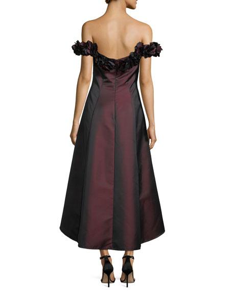 Off-the-Shoulder 3D Floral Evening Gown