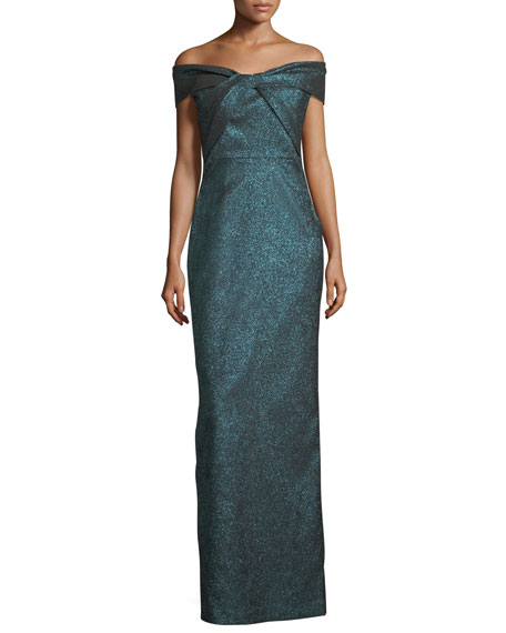 Off-the-Shoulder Metallic Stretch Evening Gown