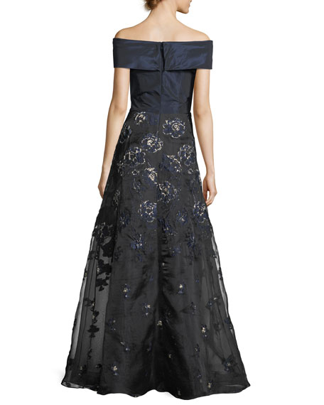 Taffeta Off-the-Shoulder A-Line Gown