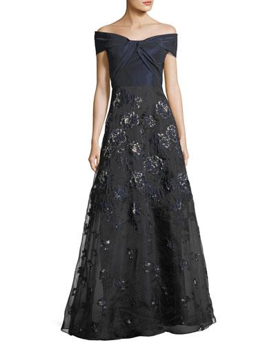 Taffeta Off-the-Shoulder A-Line Gown