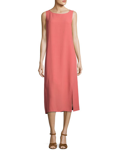 Silk Georgette Crepe Midi Tank Dress, Plus Size