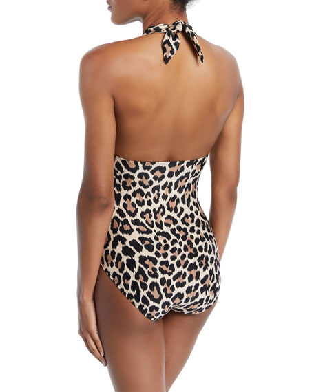 crystal cove leopard-print scalloped halter one-piece swimsuit