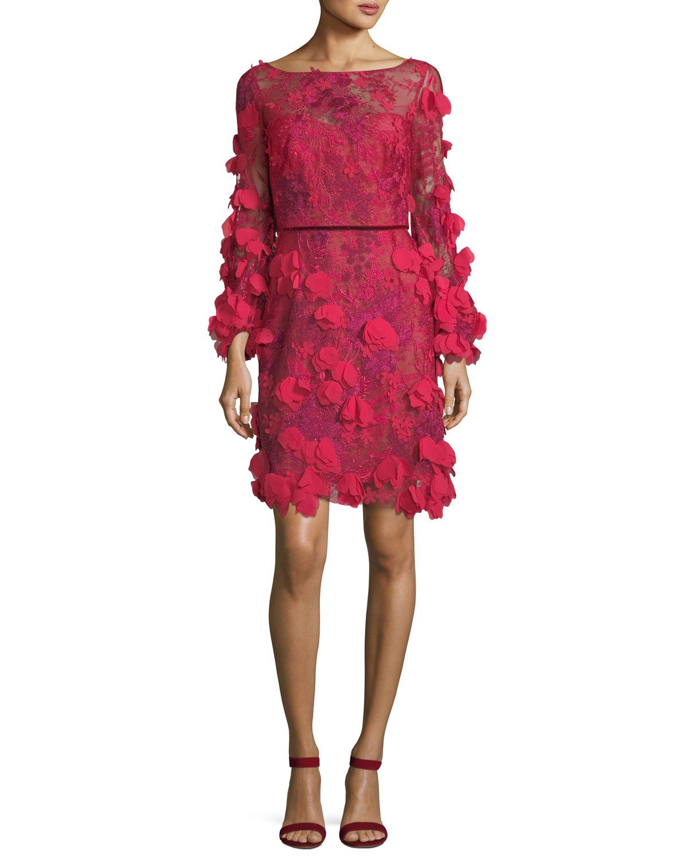 ca9519c0db90 Marchesa Notte 3D Floral Long-Sleeve Cocktail Dress
