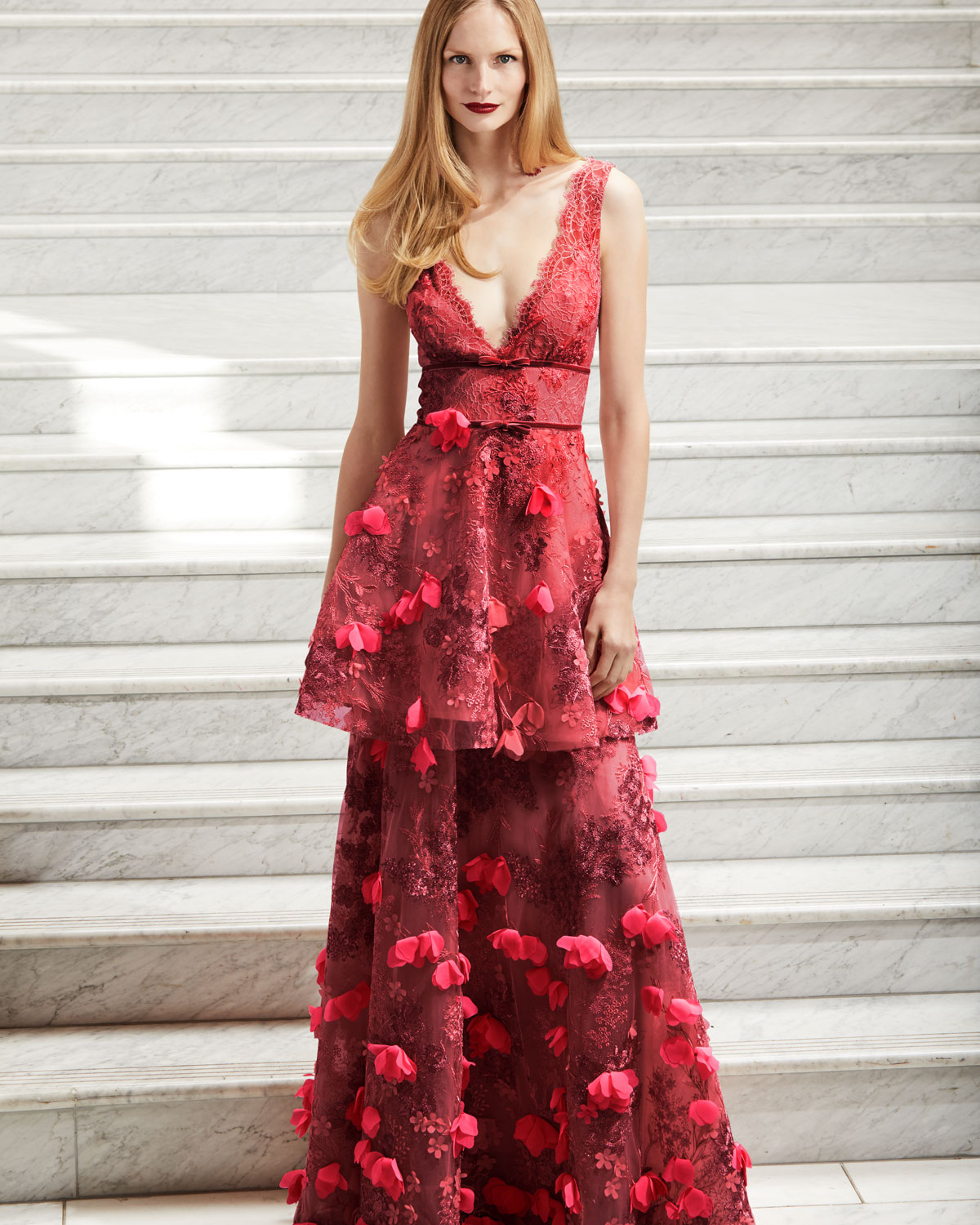 Marchesa Notte Two-Tiered 3D Floral-Embellished Gown | Neiman Marcus