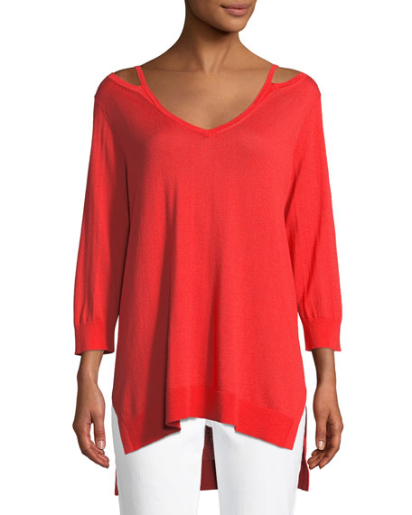 Joan Vass Open V-Neck Easy Sweater Tunic, Petite