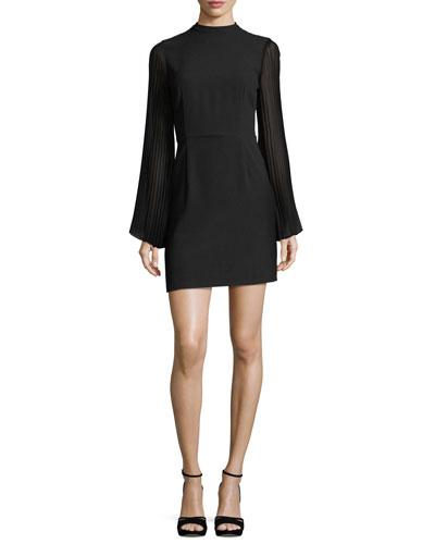 Yasmina Mock-Neck Pleated-Sleeve Sheath Crepe Dress