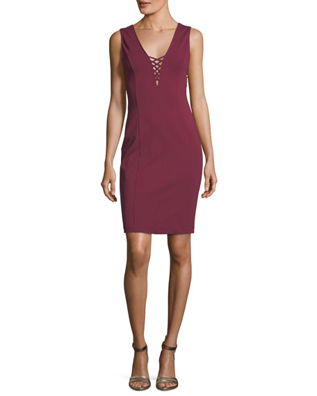 Cupcakes and Cashmere Zody V-Neck Lace-Up Sleeveless Sheath