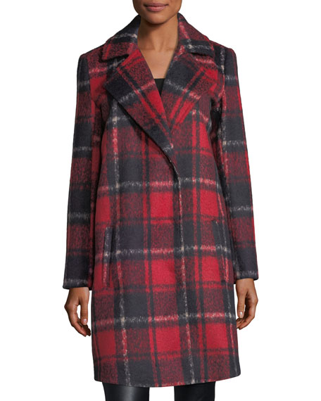 Allon Brushed Plaid Wool-Blend Coat