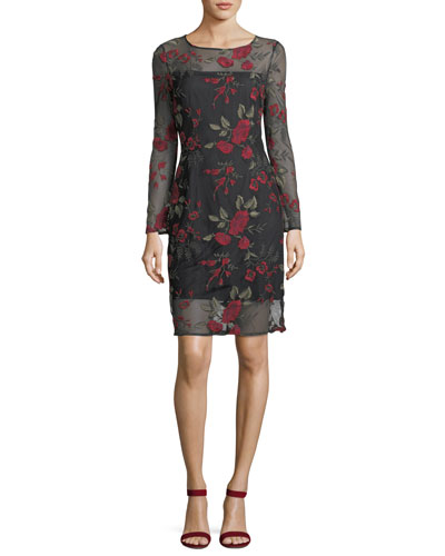 Zabrina Floral-Embroidered Cocktail Dress