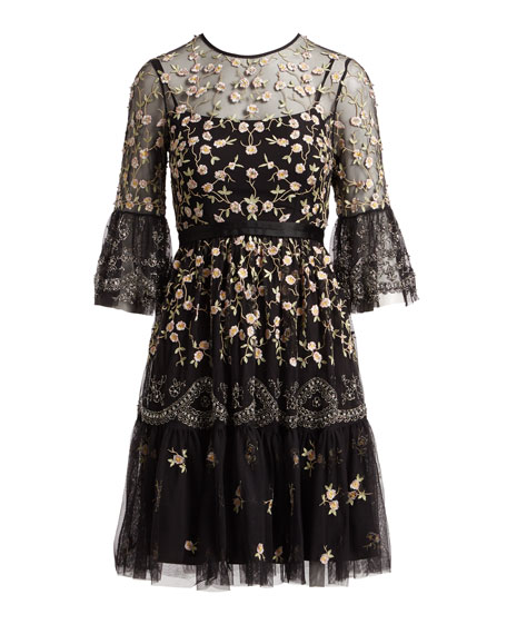 Climbing Blossom Floral-Embroidered Cocktail Dress