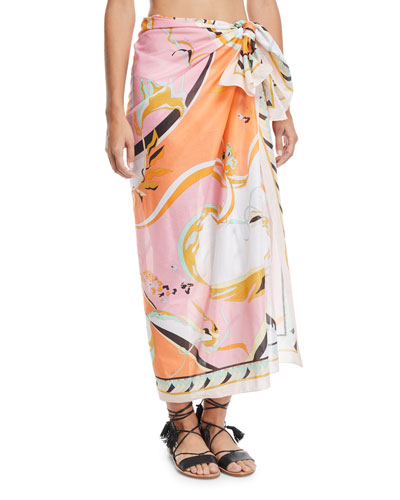Printed Cotton Pareo Coverup