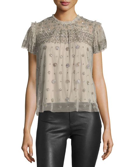 Needle & Thread Andromeda High-Neck Embellished Tulle Top