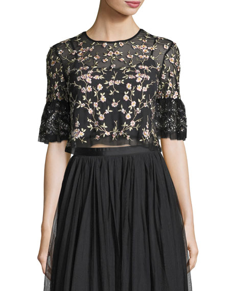 Climbing Blossom Floral-Embroidered Tulle Top