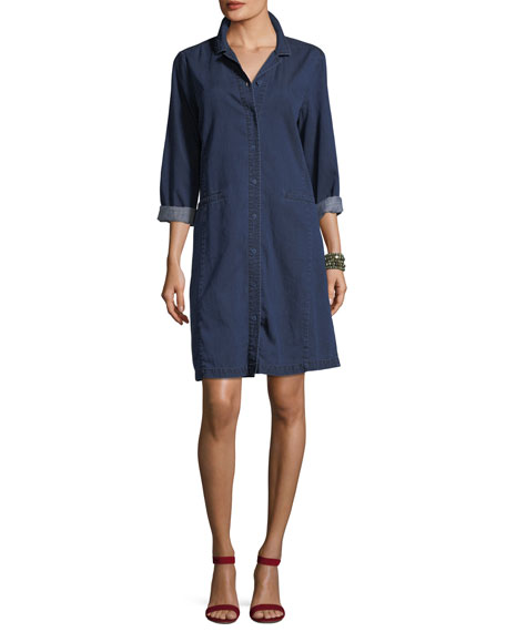 Eileen Fisher Tencel® Organic Cotton Denim Collared Dress,