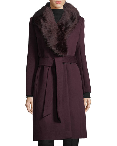 Lenoria Faux-Fur Collar Belted Wool-Blend Coat