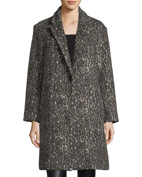 Millennie One-Button Leopard-Print Coat
