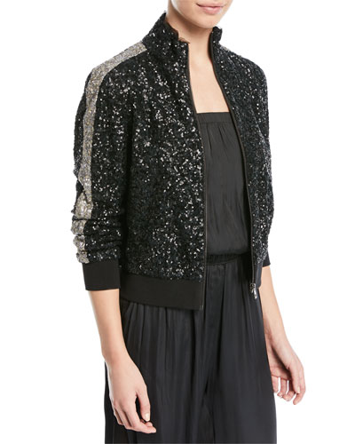 Baby Sequined Zip-Front Bomber Jacket