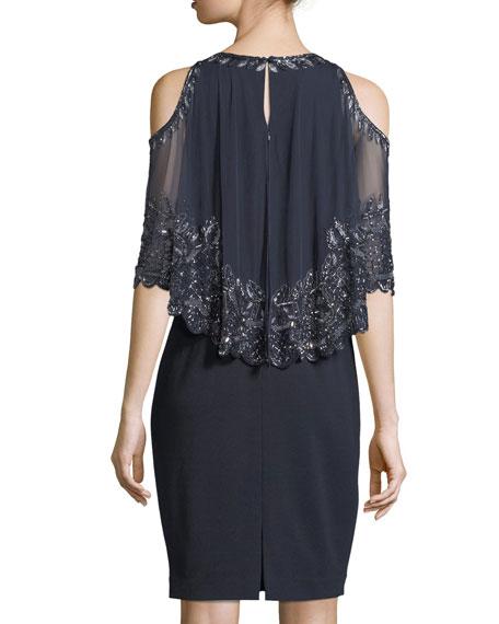 Embellished Capelet Short-Sleeve Dress