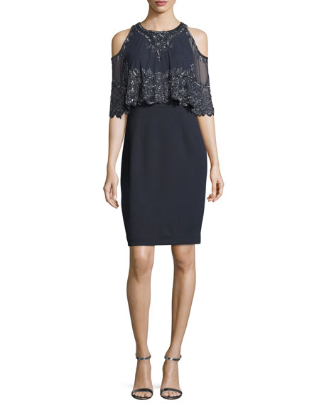 Aidan Mattox Embellished Capelet Short-Sleeve Dress