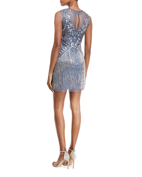 Beaded V-Neck Illusion Dress w/ Fringe Skirt
