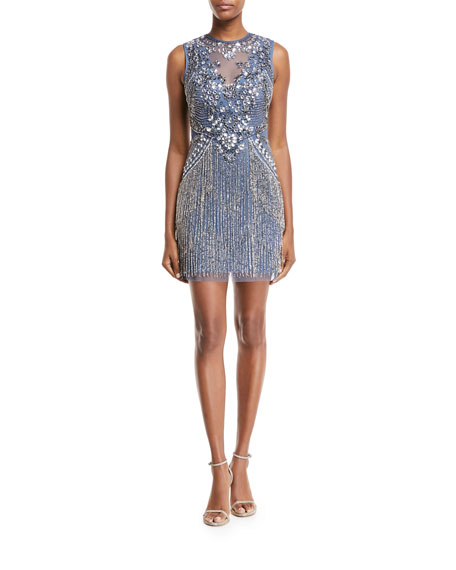 Aidan Mattox Beaded V-Neck Illusion Dress w/ Fringe