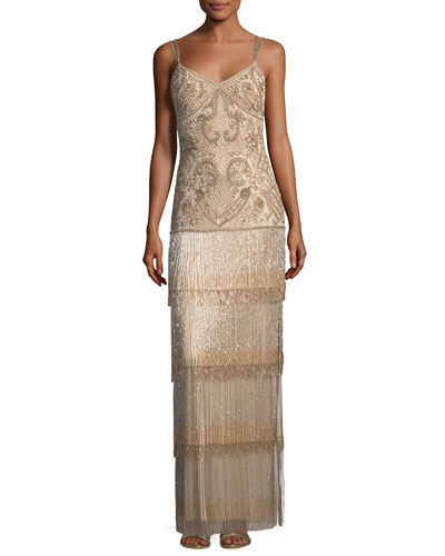 Beaded Fringe Column Tiered Long Evening Gown