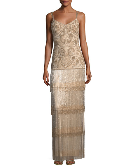 Aidan Mattox Beaded Fringe Column Tiered Long Evening