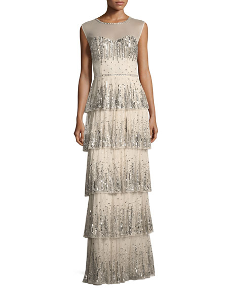 Embellished Five-Tier Long Evening Gown