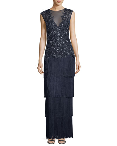 Embellished V-Neck Illusion Fringe Gown