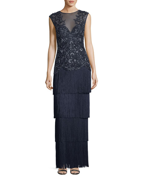 Aidan Mattox Embellished V-Neck Illusion Fringe Gown